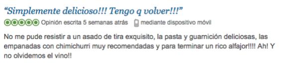 Trip Advisor Gotan comida argentina